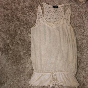 Lace accent tank top with tie